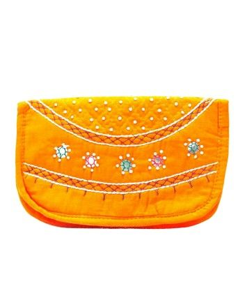 Orange Color Embroidered Party Wallet  #ohnineone