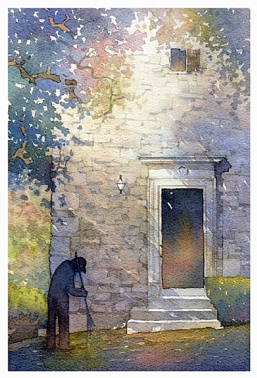 torre vescovo - montalto by Thomas W Schaller Watercolor ~ 14 inches x 10 inches