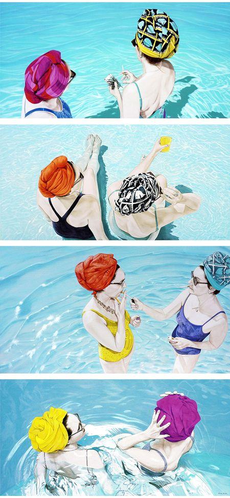 turban toting swimming pool ladies: Summer Day, Summer Turban, Nina Nolt, Jealous Curat, Totes Swim, Swim Pools Illustrations, Hot Pics, Pools Lady, Turban Totes