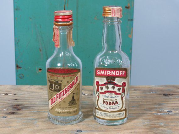 2 Vintage Miniature Glass Liquor Bottles   Smirnoff Vodka