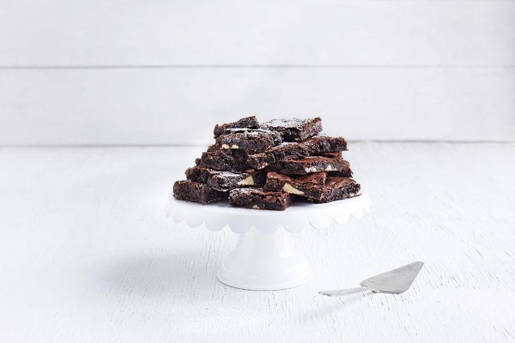 Brownies med hvit og mørk sjokolade