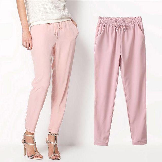 Vente chaude Casual femme en mousseline de soie pantalons taille élastique solide couleur bureau OL pantalons été pantalons dame mince AB17