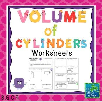 This product includes two pages of practice problems (14 total problems) on volume of cylinders.  To start, students are asked to explain what it means to find the volume of a cylinder.  They are also asked about the formula used to calculate volume.  Students are asked to calculate the volume of a cylinder given the radius and height.