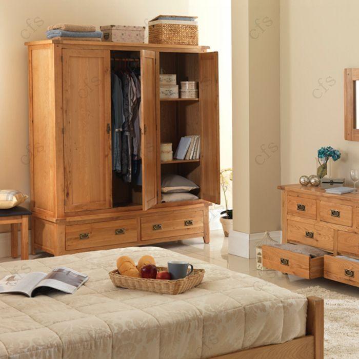 New Cherbourg Oak Triple Wardrobe with Drawer