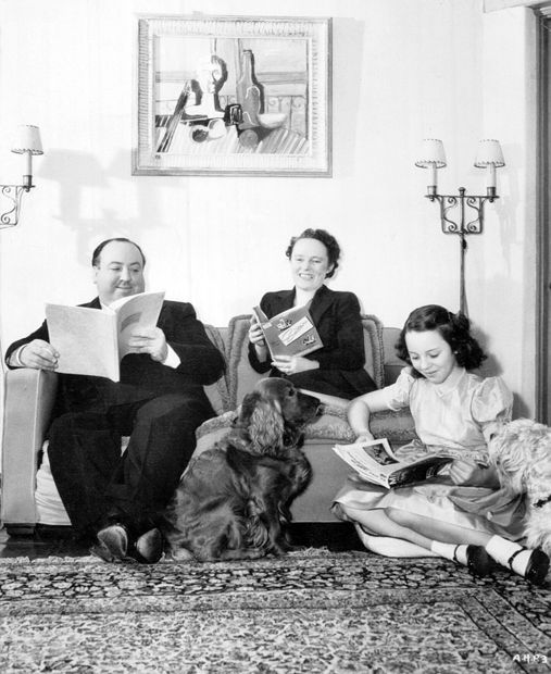 Alfred Hitchcock, Edward IX, Alma Reville, Pat Hitchcock and Charles in the living room of their Bel Air home in 1942