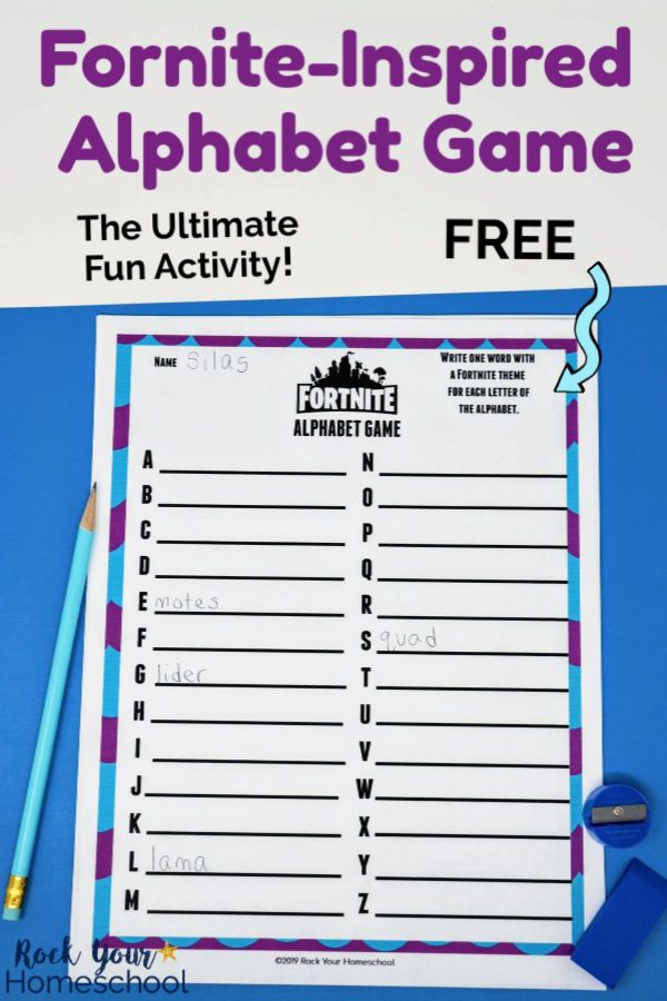 Free Fortnite Inspired Alphabet Game For Ultimate Fun Alphabet Games Rainy Day Fun Letter Recognition