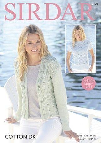 e578083f954f8 Sirdar Ladies Top   Jacket Cotton Knitting Pattern 8121 DK ...