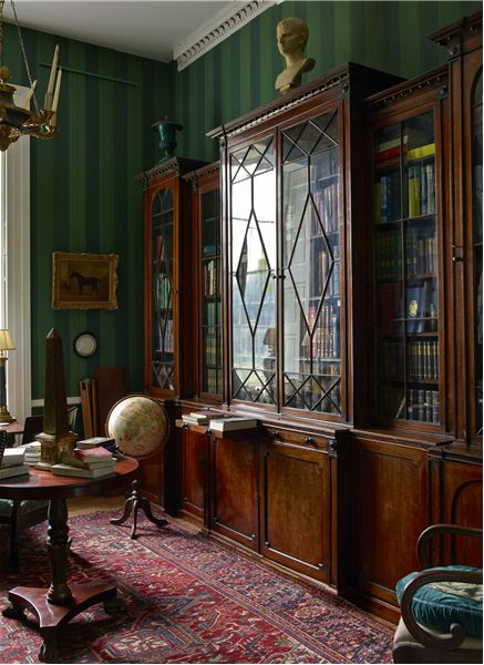 Hendre House (Country Life Archive) Love the green striped wallpapers.