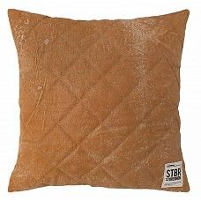 """Kussen bruin doorgestikt leer 43cm, """"leather quilted cushion"""""""