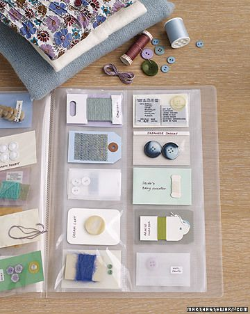 A simple business-card organizer (from an office-supply store) that keeps all the fixings for your clothes in one place