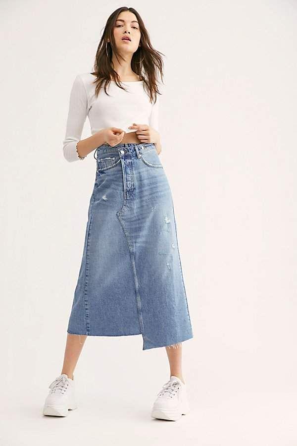 Reworked Denim Midi Skirt in 2020 | Long denim skirt outfit, Denim ...