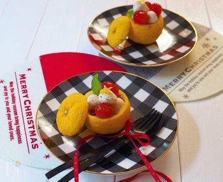 クリスマスの前菜にもぴったり!!    柚子が香るカプレーゼ!    柚子の器に入れれば、可愛いおもてなしの1品に!