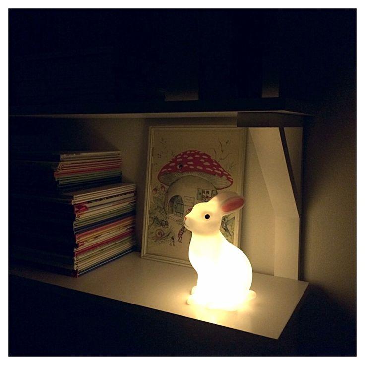 kanin, lampa, belysning, barnrum, barnlampa