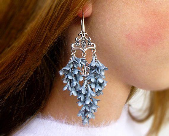 Grey earrings Long earrings Flower jewelry Lilac earrings