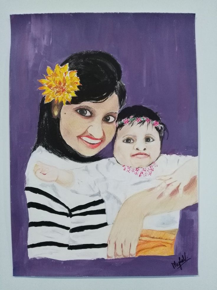 Portrait of my friend and daughter #pencilart #acrylicpainting #mixedmedia #portrait