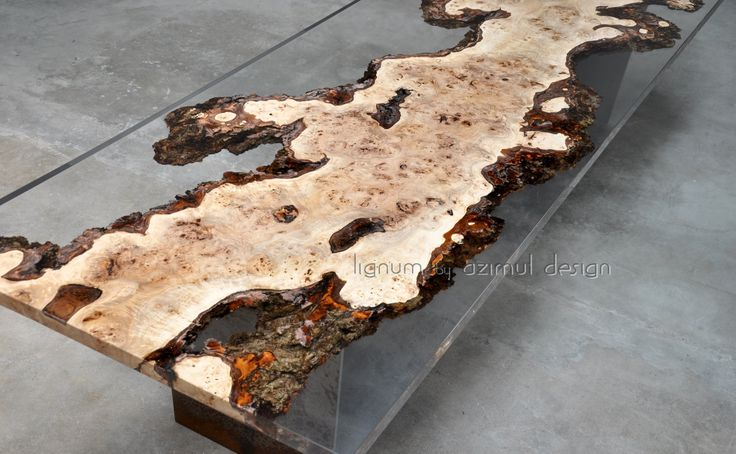 Bespoke table with unique piece of Poplar root combined with our clear resin; iron base. Lugnum by Azimut design