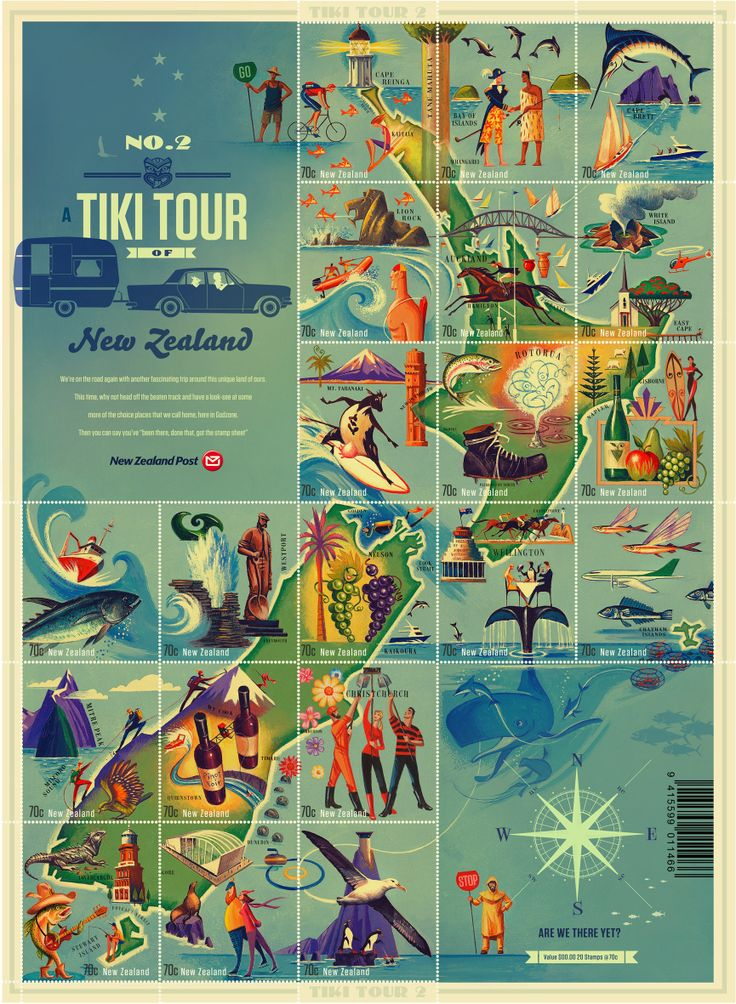 Tiki-Tour. Very impressive design. Overall works as a large scale image, but each single stamp has its own design and looks great on its own.