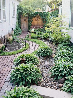 Love the hosta lined side yard