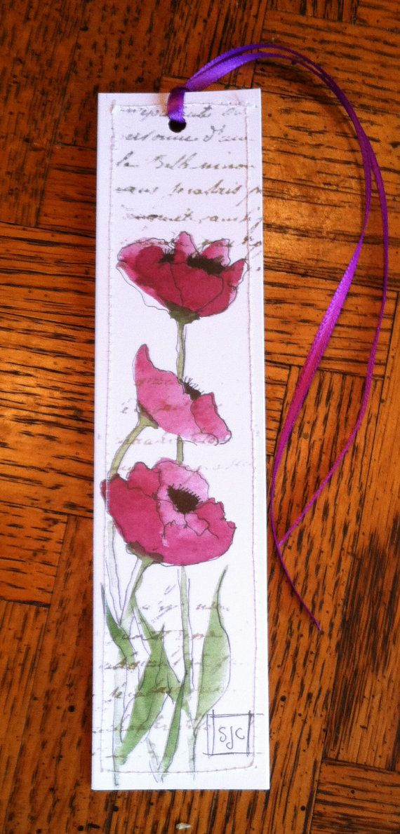 Watercolor  Bookmark  Purple Poppies by Wildflowerhouse on Etsy