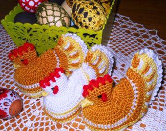 Egg Warmers Crochet Handmade Set of 2 Cute Hens by MartaCarlin