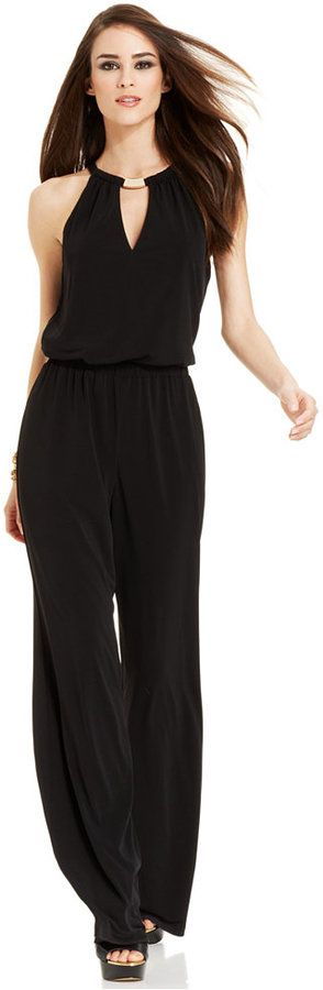 GUESS Wide-Leg Hardware Halter Jumpsuit