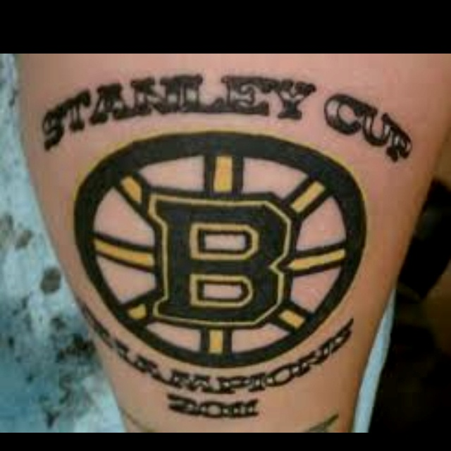 boston bruins stanley cup tattoo we bleed the black and gold we are all bruins sports. Black Bedroom Furniture Sets. Home Design Ideas
