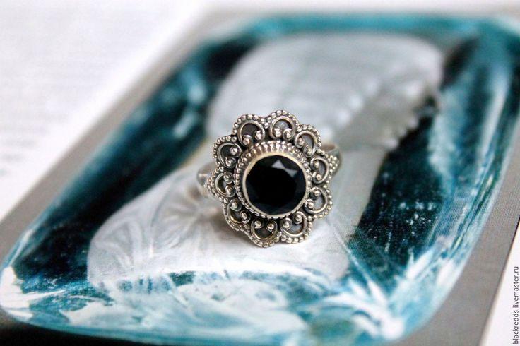 """Купить Кольцо """"Ночь в Норвегии"""" из серебра 925 и черного оникса. - кольцо серебро 925 пробы"""