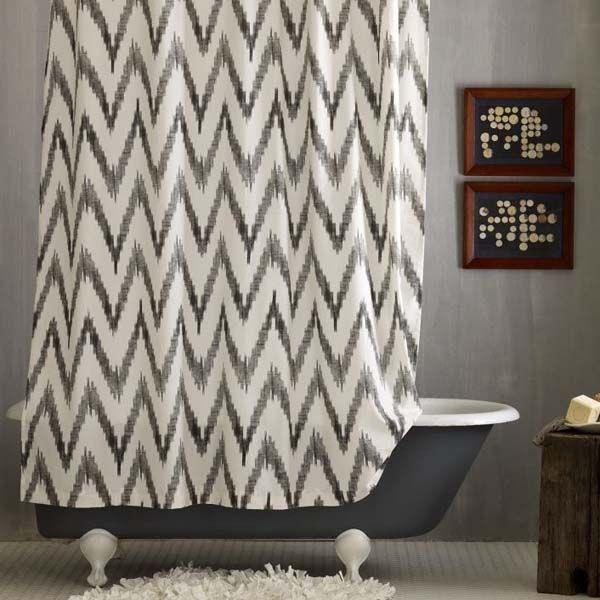 Gray Chevron   Ikat Chevron   Chevron Pattern   Bathroom   Shower Curtain   Bath Accessories