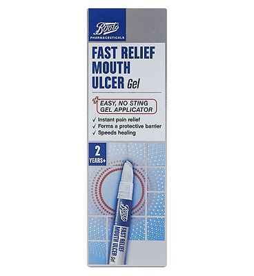 Boots Pharmaceuticals Boots Fast Relief Mouth Ulcer Gel 10146961 20 Advantage card points. Boots Pharmaceuticals Fast Relief Mouth Ulcer Gel. Easy, no sting gel applicator. Instant pain relief, forms a protective barrier, speeds healing. 2  Years.See details below, http://www.MightGet.com/april-2017-1/boots-pharmaceuticals-boots-fast-relief-mouth-ulcer-gel-10146961.asp
