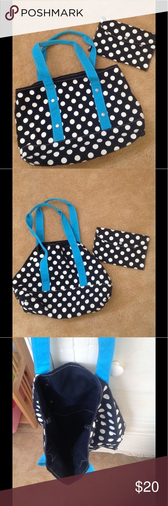 """J Crew tote and makeup bag excellent condition like new cloth tote. make up bag included. measures approx 15"""" x 11"""" x 4"""" base. can be used both ways as shown in photos. J. Crew Bags Totes"""