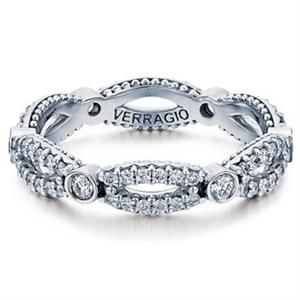 Shop online VERRAGIO Parisian-W103R Diamond Curved White Gold Womens Wedding bands  at Arthur's Jewelers. Free Shipping