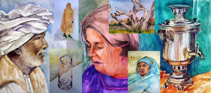 Sudan Water Colors, these were made with a lovely group of ladies each monday morning in Khartoum next to the nile such a privilage! www.martinanagnostou.com