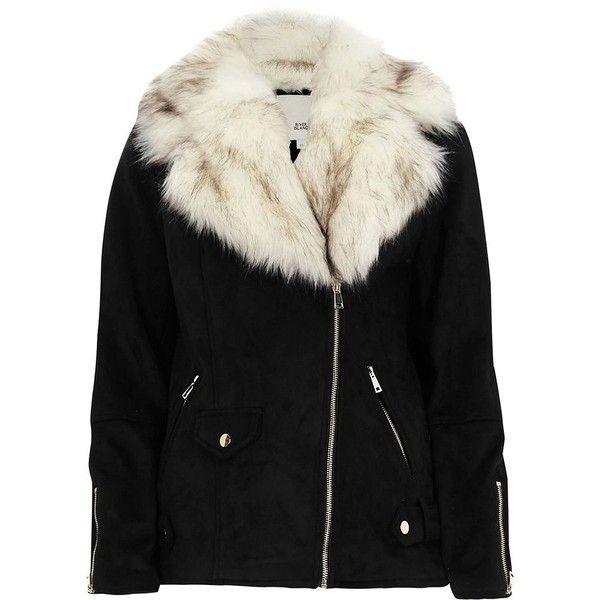 River Island Black faux suede faux fur trim aviator jacket (¥16,970) ❤ liked on Polyvore featuring outerwear, jackets, black, coats / jackets, women, side zipper jacket, tall biker jacket, river island, tall jackets and faux suede biker jacket