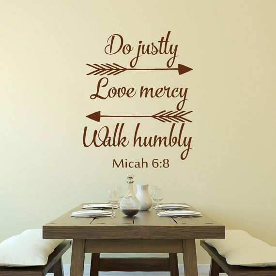 Bible Verse Decal Do Justly Love Mercy And Walk Humbly Micah Arrows Wall  Decals   Inspirational Religious Saying Wall Decal Quote