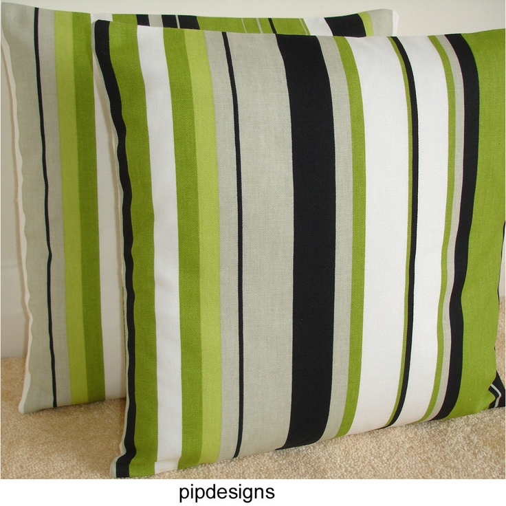 "2 NEW 16"" Decorative Throw Pillow Covers Lime Green Black White Grey Striped Cushion Cases Shams Slips Pillowcases Pillowshams Pillowslips. $28.00, via Etsy."