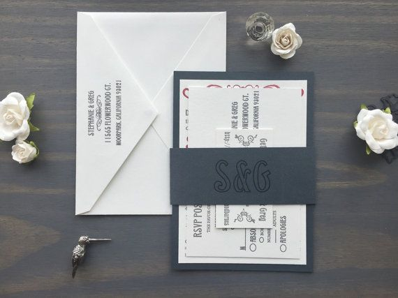 Letterpress Vintage Wedding Suite, Letterpress Invites, Grey Red, Fun Casual Titanic Era Steampunk, Edwardian Victorian, Unique