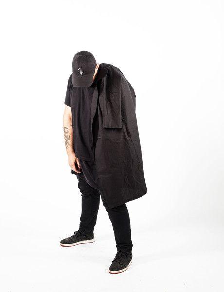 distressed baseball cap + short sleeve trench coat // William Darc X zargara