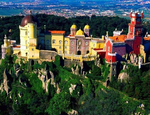 """""""Perhaps this is the most amazing of all that I have seen in Europe."""" English poet Lord Byron in his """"Childe Harold's Pilgrimage"""". Pena Palace, masterpiece of architectural art in Sintra, Portugal."""