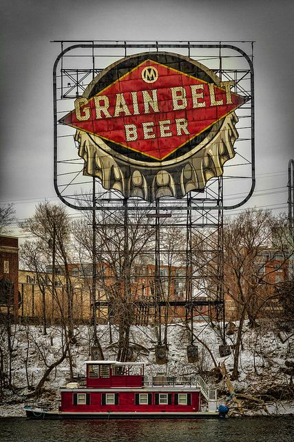 Grain Belt Beer sign. Hennepin Ave, Minneapolis, Minnesota~(Grain Belt Premium) The only beer my husband will buy!