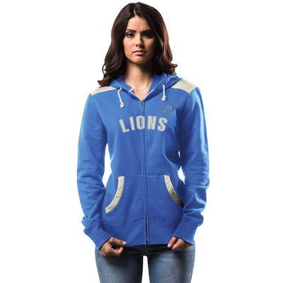 Women's Detroit Lions Majestic Blue Turn on the Lights Full-Zip Hoodie