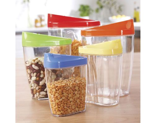 STORE AND POUR SET - £9.99 - Make storing and pouring dry ingredients such as cereal and rice easy with this fantastic set of 5 boxes. Each box is clear - so you can see what's inside, plus the sliding coloured lids make for spill-free pouring.