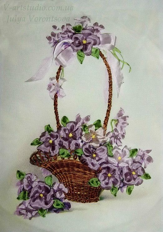 Pansies in a basket #ribbonEmbroidery