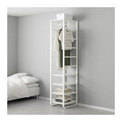 IKEA - ELVARLI, Shelf unit, You can always adapt or complete this open storage solution as needed. Maybe the combination we've suggested is perfect for you, or you can easily create your own.Adjustable shelves and clothes rail make it easy for you to customize the space according to your needs.