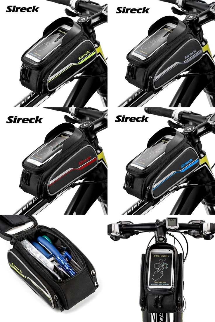 """[Visit to Buy] Sireck  6.0"""" Phone Case MTB Bicycle Bag Touch Screen Cycling Top Tube BagDouble Pouches Front Frame Bike Bag Bicycle Accessories #Advertisement"""