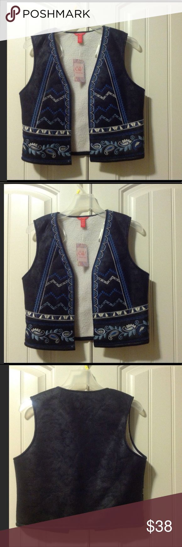 🆕CHELSEA &VIOLET WOMENS EMBROIDERED VEST (Sz M) Chelsea &Violet black blue vest with fleece lined. It has blue and white stitched design sound front. The lining inside is fleece . Material Shell/ Exterior- 100% polyester . Contrast -100% Rayon. BRAND NEW WITH TAG. Chelsea & Violet Jackets & Coats Vests