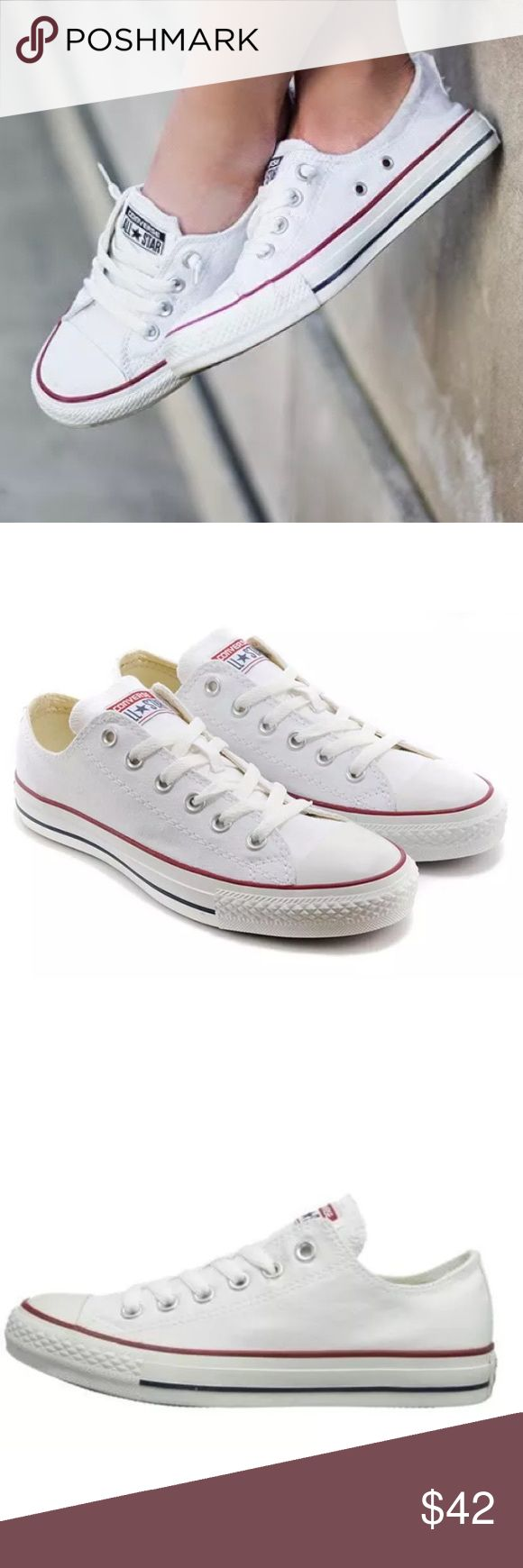 List! Classic White Converse All-Stars! NEW! The shoe that never goes out of style! Women's size 7.5, men's size 6. New in box. Converse Shoes Sneakers