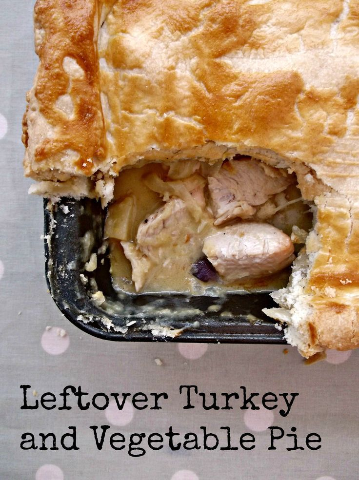 A delicious turkey and vegetable pie that makes use of all of your Christmas leftovers.