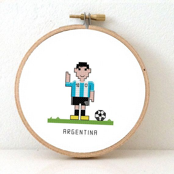 Argentina Soccer player Cross Stitch pattern. DIY FIFA World Cup decoration or cute gift for a soccer fan. Lionel Messi by Studio Koekoek, €3.95