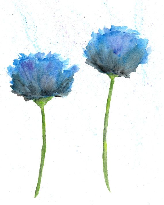 Watercolor flower painting by ThimbleSparrowFlower Painting, Watercolors Poppies, Flower Art, Art Flower, Flower Prints, Blue Flower, Poppies Flower, Watercolors Painting, Watercolors Flower