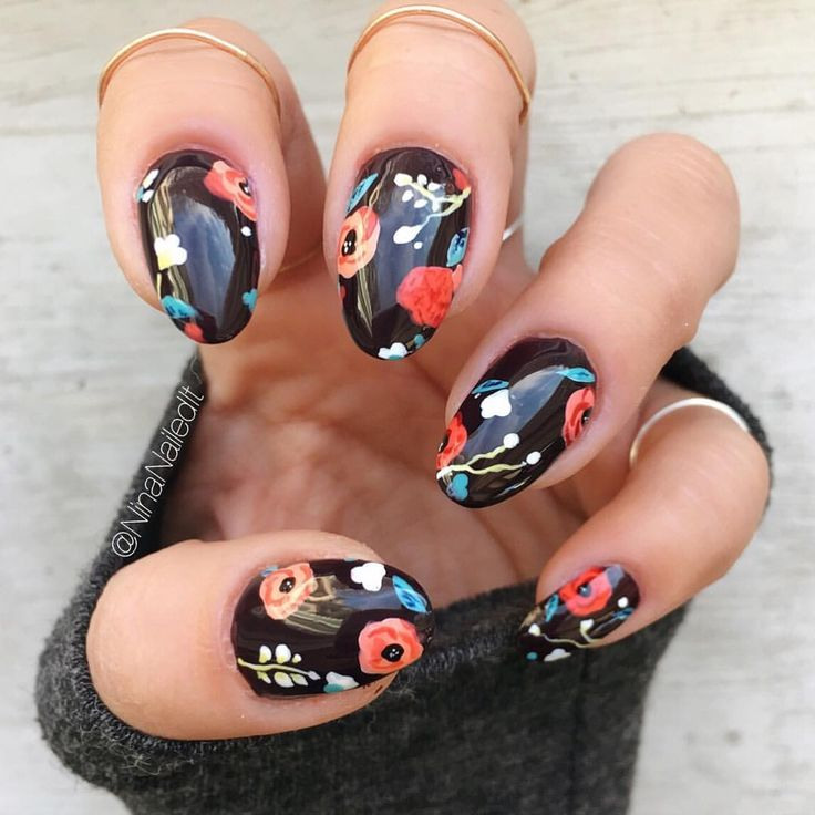 """Nina Park. Nail Art. Boston. on Instagram: """"Really, Nina? More florals? Yes. More florals. But on a new base! Loving this vampy @sally_hansen shade. I'm getting doughnuts in Brookline…"""""""